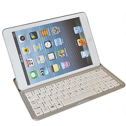 White iPad mini Aluminium Stand & Bluetooth Keyboard Case Cover