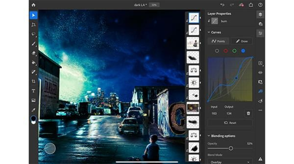 Tone curve function for Photoshop for iPad